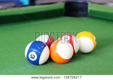 Closed up Billiard balls on a pool table