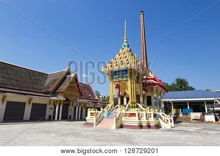 Crematorium with blue sky background in the Thai temple