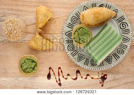 Asian traditional dessert or snack on wooden background