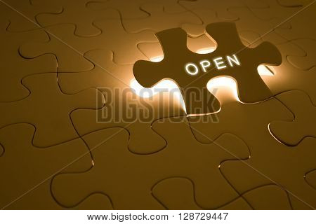 opportunity concept with open word on puzzle