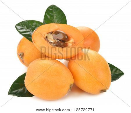 Japanese loquat isolated on white background close up