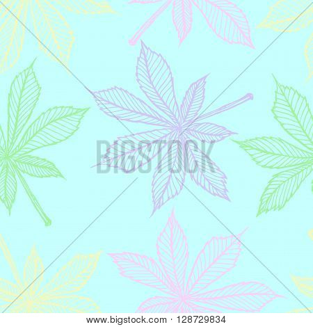 Vector seamless pattern - linear leaves of chestnut. outline chestnut's leaves in drawing style