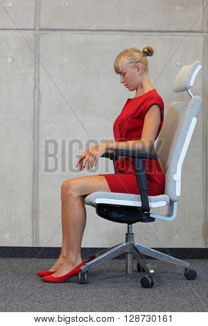 woman stretching neck  - reducing stress