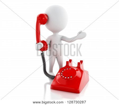 3d renderer image. White people with red old phone. Communication concept. Isolated white background.