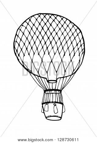 Hot Air aerostat vector logo design template. retro airship or transport icon.