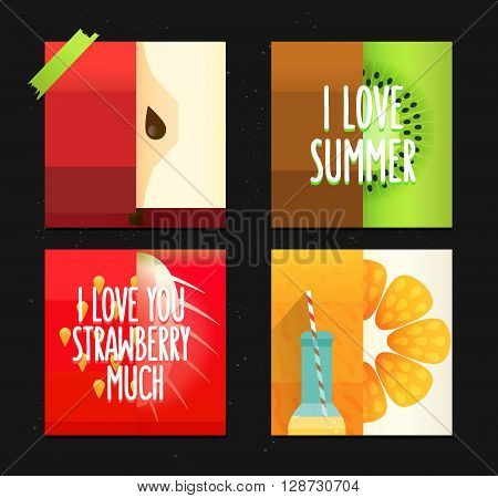 Journal cards with summer inspiration quote. Funny stylized fruits.