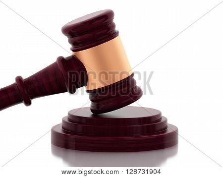 3d renderer image. Gavel on isolated white background. Law concept.
