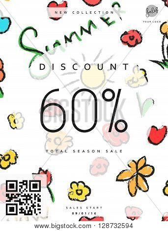Discount 60. Discounts price tag. Summer discount. Black Friday. Clearance Sale. Discount coupon. Discount summer. Sale discount