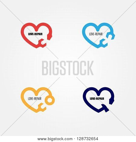 Love-Repair logo elements design.Maintenance service and engineering creative symbol.Business and industrial concept.Vector illustration