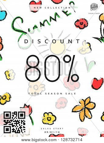 Discount 80. Discounts price tag. Summer discount. Black Friday. Clearance Sale. Discount coupon. Discount summer. Sale discount