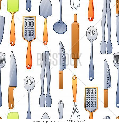 Seamless background with a pattern of cutlery. Vertical pattern of colored cutlery. Background with kitchen utensils in a cartoon style. Vector illustration