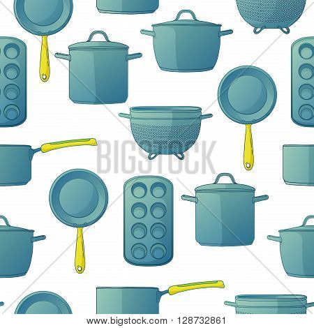 Seamless background with a pattern of utensils for baking. Seamless Background with Kitchen accessories for baking. Seamless background with a pattern of utensils for baking in cartoon style. Vector illustration