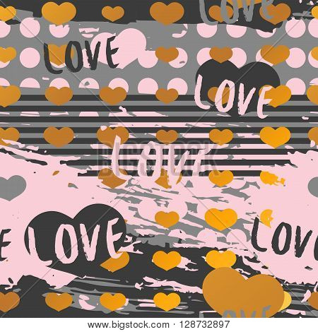 Seamless romantic background in modern style. Seamless romantic background for Valentine's Day. Decor invitations, paper for Valentine's Day. Romantic background with a pattern of pink hearts. Vector illustration