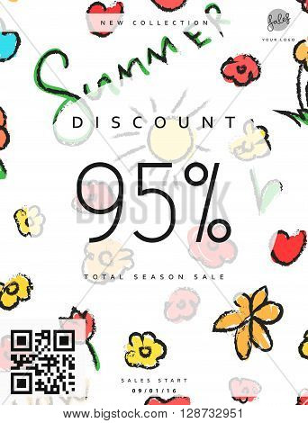 Discount 95. Discounts price tag. Summer discount. Black Friday. Clearance Sale. Discount coupon. Discount summer. Sale discount