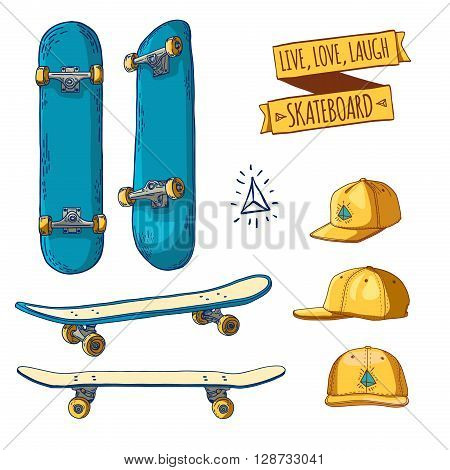Set of colored stickers and labels with skateboards and caps. For labels, logos, icons. Attributes of skateboarding. Skate set with caps. Skateboard style. Vector illustration