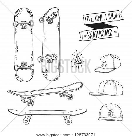 Set of black and white skateboards and caps. For labels, logos, icons. Attributes of skateboarding. Skate set with caps. Skate set for print and sticker. Skateboard style. Vector illustration