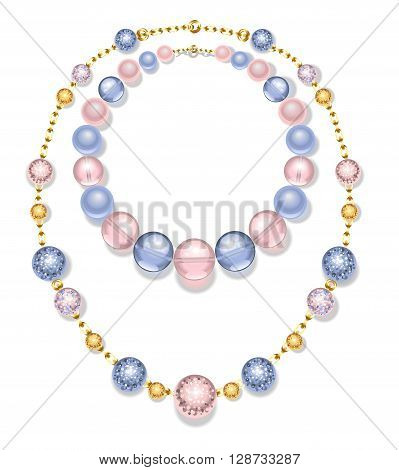 necklace of gold chains and beads fashion pink and blue on a white background. Rose Quartz and serenity.