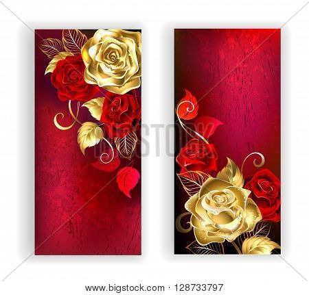 two banners with gold and red roses on red textural background. Design with roses. Gold rose.
