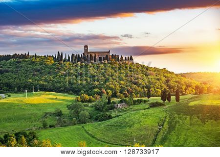 Beautiful tuscany landscape at sunset , Italy