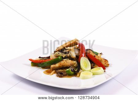 Image of chines food on the white plate