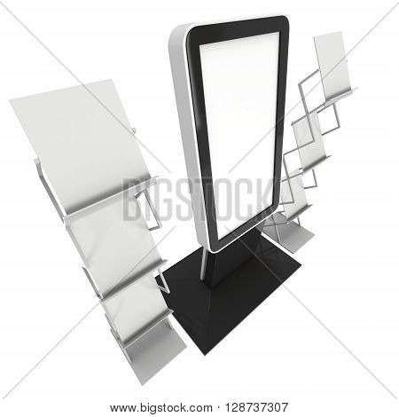 LCD Screen Stand. Blank Trade Show Booth. 3d render of lcd screen isolated on white background. High Resolution. Ad template for your expo design.