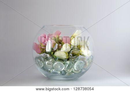 Bunch of Artificial Decorative Flowers on Transparent Vase