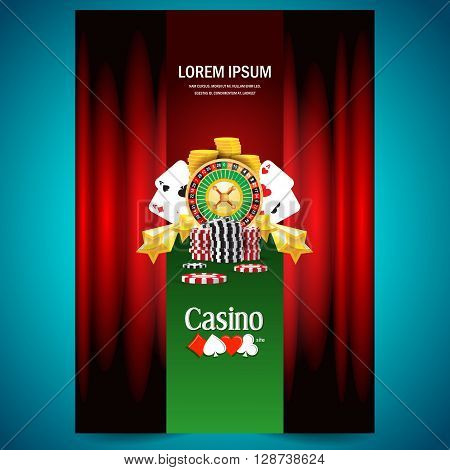 cover poster face casino european roulette money poker cards game red black green background