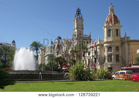 VALENCIA SPAIN - OCTOBER 07 2014: View of Placa del Ajuntament - the main square of Valencia. Valencia is the capital of the autonomous community of Valencia and the third largest city in Spain