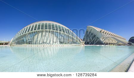 VALENCIA SPAIN - OCTOBER 08 2014: Prince Philip Science Museum and L'Hemisferic in  Valencia Spain