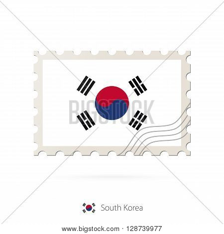 Postage Stamp With The Image Of South Korea Flag.