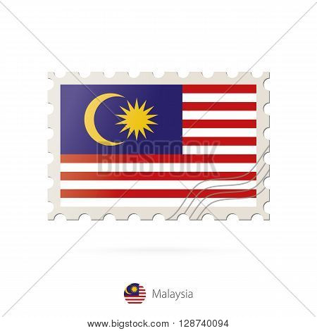 Postage Stamp With The Image Of Malaysia Flag.