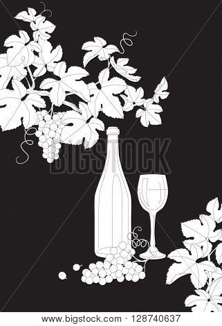Hand drawn outlines branches with bunch of grapes glass and bottle of wine. Black and white elements for coloring. Wine set isolated on dark background.