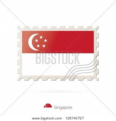 Postage Stamp With The Image Of Singapore Flag.