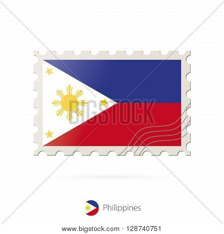 Postage Stamp With The Image Of Philippines Flag.