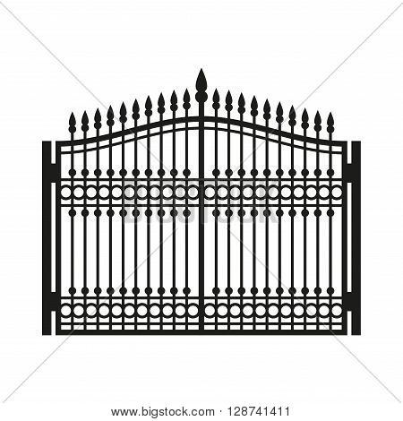 Fence Wrought Iron Gate. Old Style Door. Vector illustration