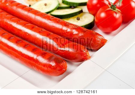Fresh Sausage On Plate