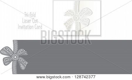 Tri-fold Laser Cut Invitation Card. Laser-cut pattern for invitation card for wedding. Wedding invitation envelope template.