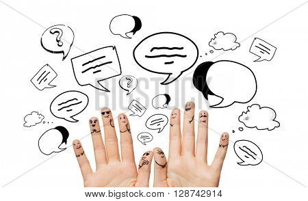 communication, family, wedding, people and body parts concept - close up of two hands showing fingers with smiley faces over text bubble doodles