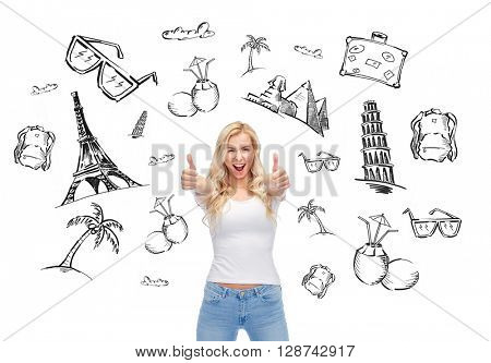 people, tourism, vacation and summer holidays concept - happy smiling young woman or teenage girl in white t-shirt showing thumbs up with both hands over touristic doodles