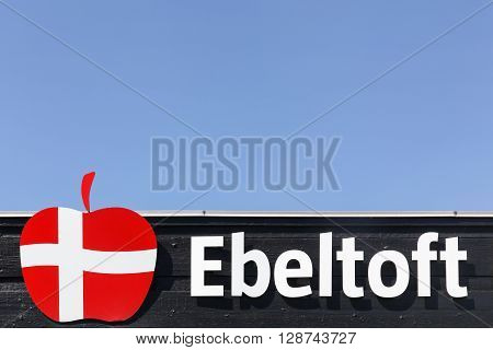 Ebeltof, Denmark - May 5, 2016: Ebeltoft logo in Denmark. Ebeltoft is an old port town on the central east coast of Denmark and well known for its old town center with cobble-stoned streets.