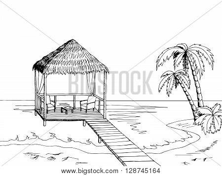 Sea coast graphic art black white landscape illustration vector