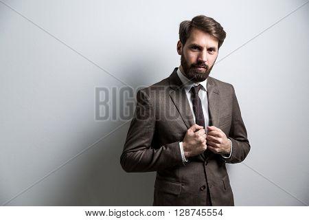 Serious Businessperson Light Grey Wall