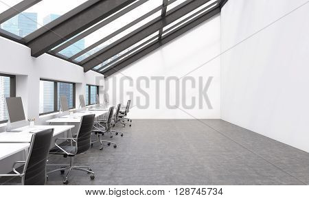 Sideview of concrete coworking space with Singapore view. 3D Rendering