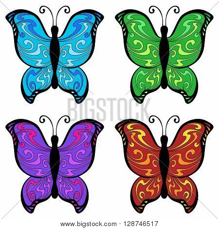 Abstract butterfly color blue red yellow green pink violet illustration vector