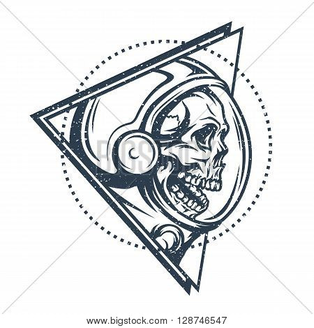 Dead astronaut in spacesuit and geometric element. Abstract illustration.