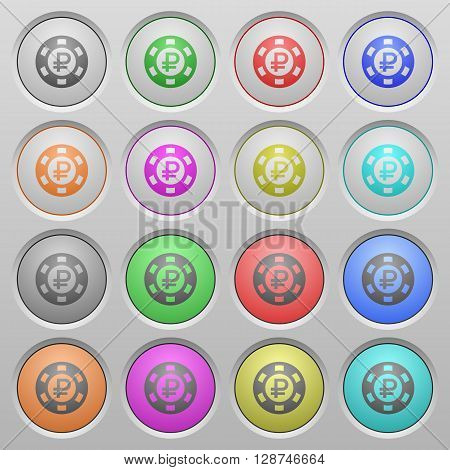 Set of Ruble casino chip plastic sunk spherical buttons.