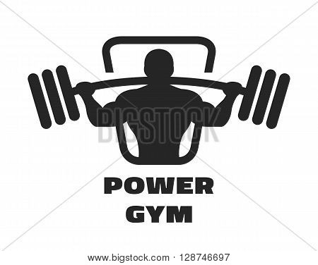 Silhouette of an athlete with a barbell. Fitness logo.