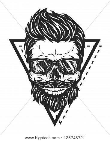 Skull hipster glasses and geometric elements. Vector illustration.