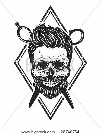 Skull with a beard and a stylish haircut. The symbol of the barber shop.