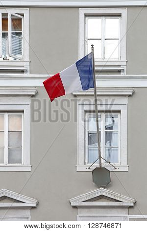 Flag of France Tricolour at Window Pole